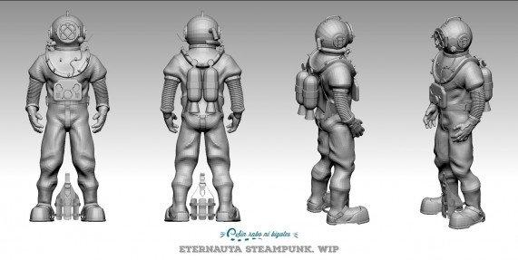vistas modelo 2d buzo steampunk en proceso