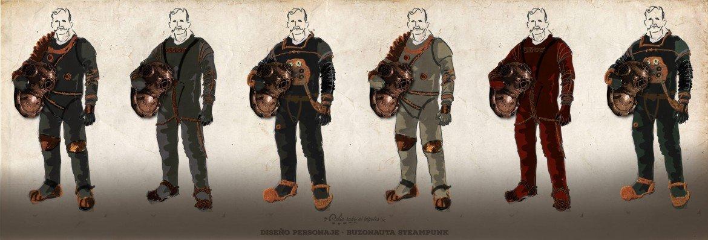diseño traje espacial buzo steampunk