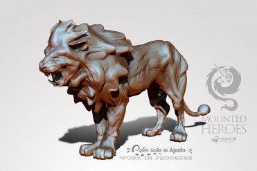 miniatura leon rugiendo en 3d para impresion 3d proceso de modelado