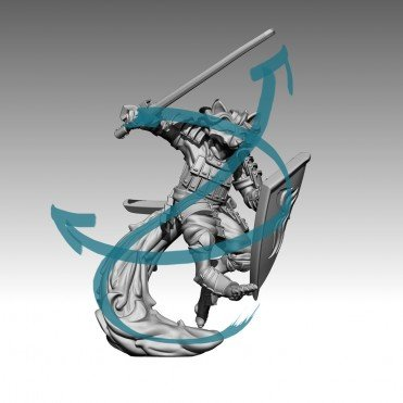 curvas de movimiento sobre un modelo 3d