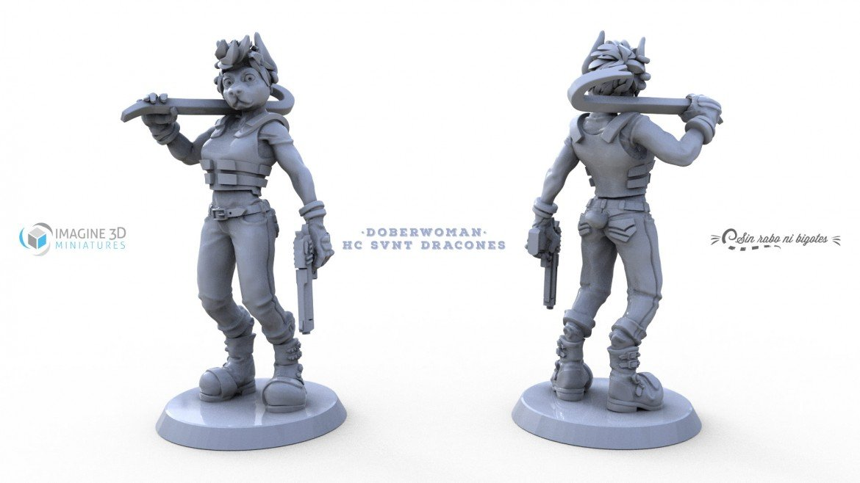 vistas miniatura 3D doberwoman