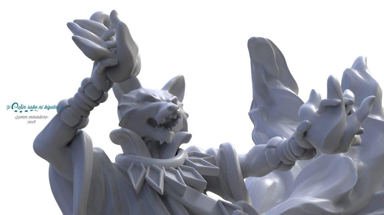 miniatura kitsune de 35mm para impresion 3D. Modelo personalizado para Pathfinder