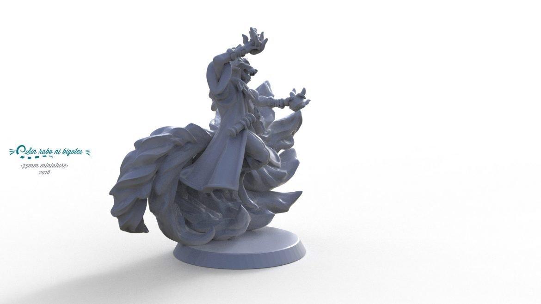 miniatura de 35mm para impresion 3D. Modelo personalizado de zorro para Pathfinder