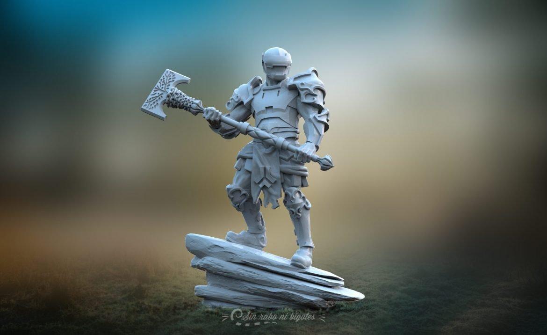 miniatura 3d guerrero scifi con armadura