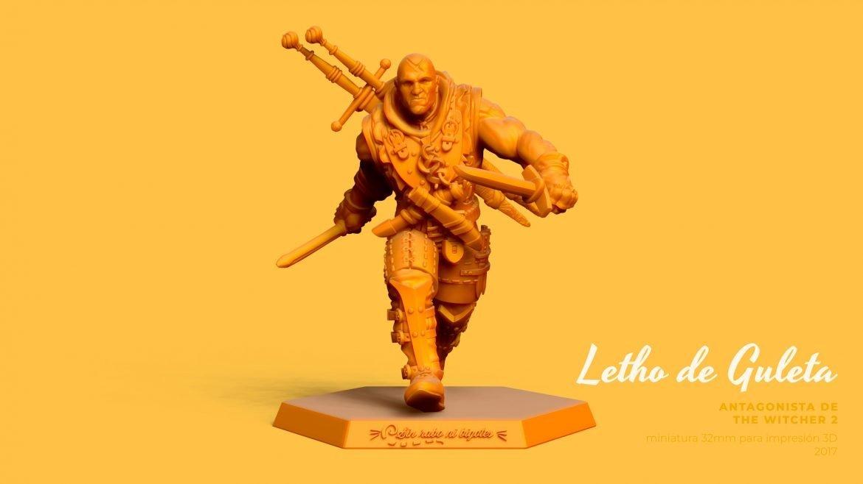 miniatura personalizada para impresion 3D de Letho, brujo de te Witcher 2