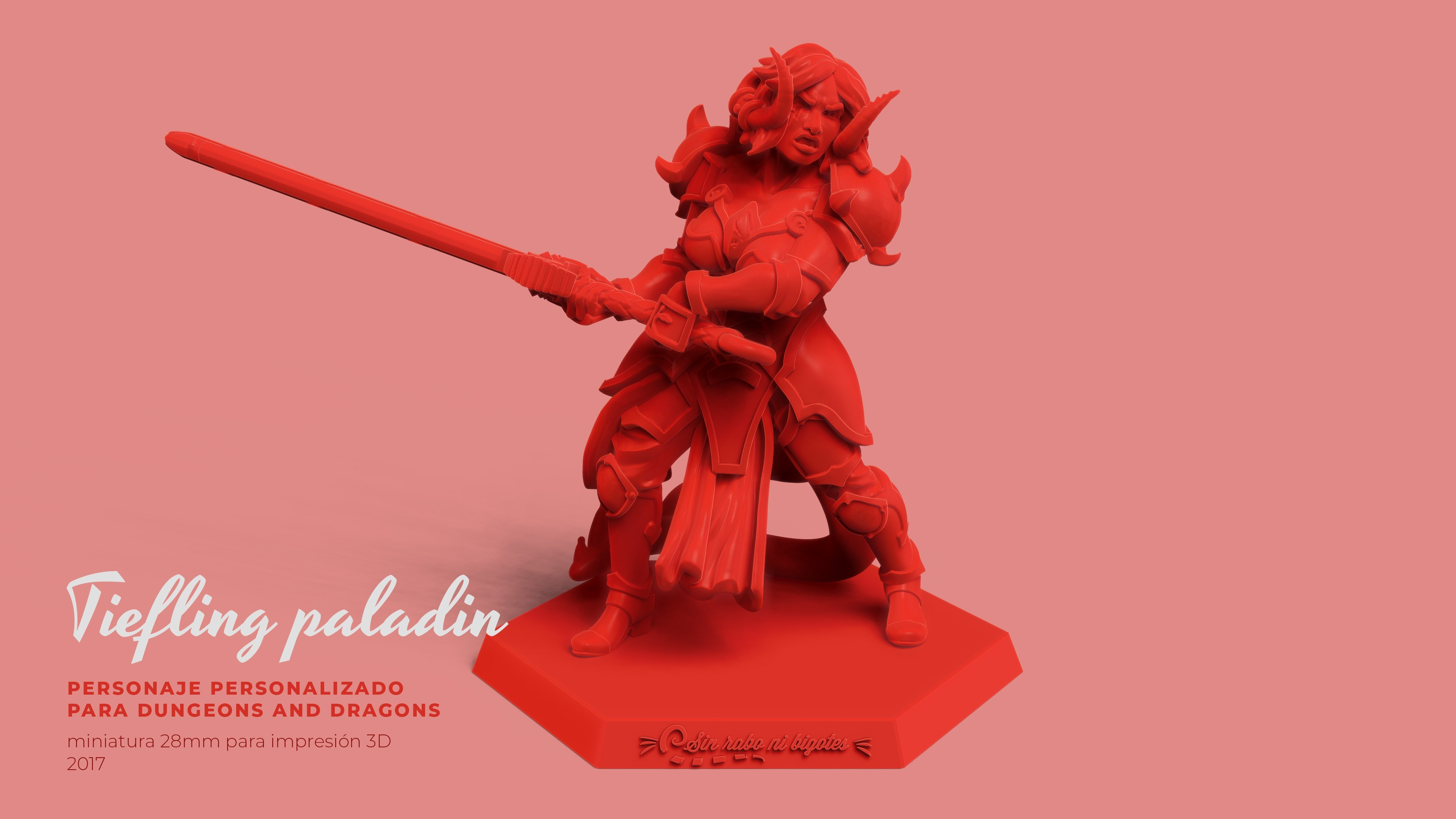 miniatura tiefling paladin demonia dungeons and dragons